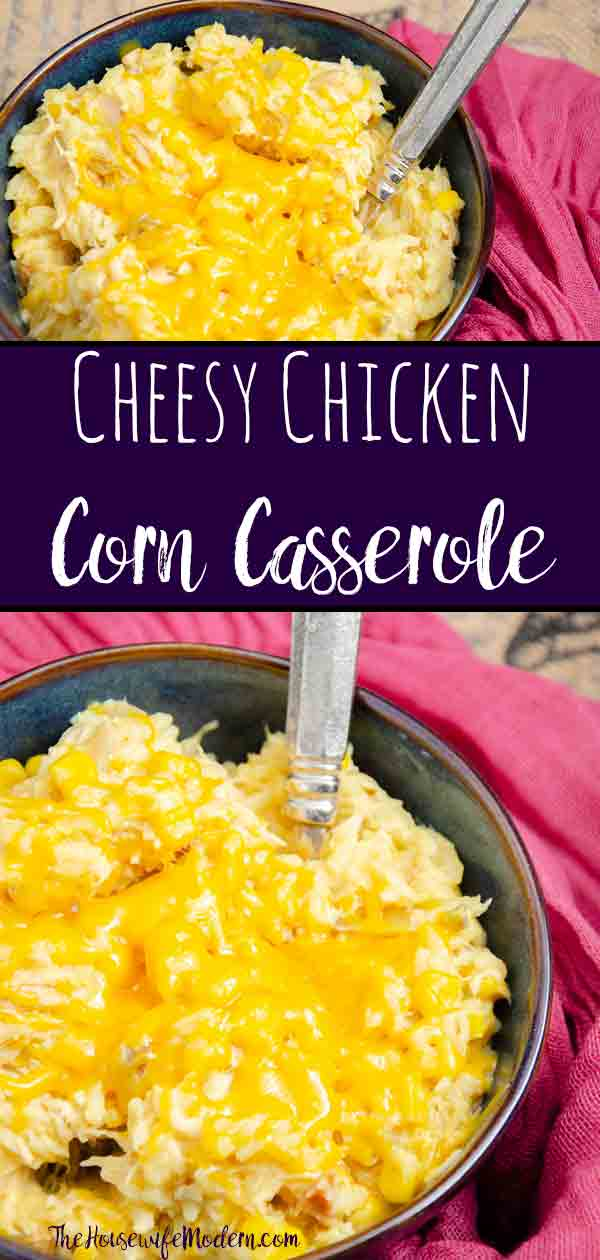 """Cheesy Chicken Corn Casserole. Easy slow-cooker meal. It may not look pretty. But it's so delicious, I almost named it """"crack casserole."""" #chicken #cheese #casserole #slowcooker #corn"""