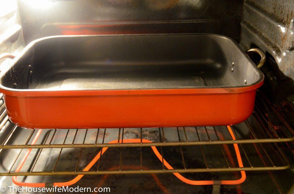 Pre-warming water bath baking pan.
