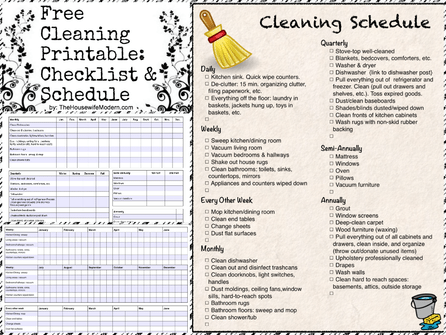 Free Printable: Cleaning Calendar and Checklist