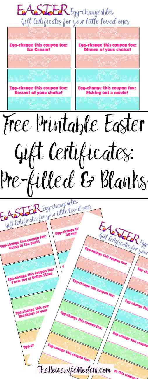 Free Printable Easter Gift Certificates for kids. Pre-filled certificates and blank ones you can fill out yourself. Put in eggs for an easter hunt or in Easter basket.