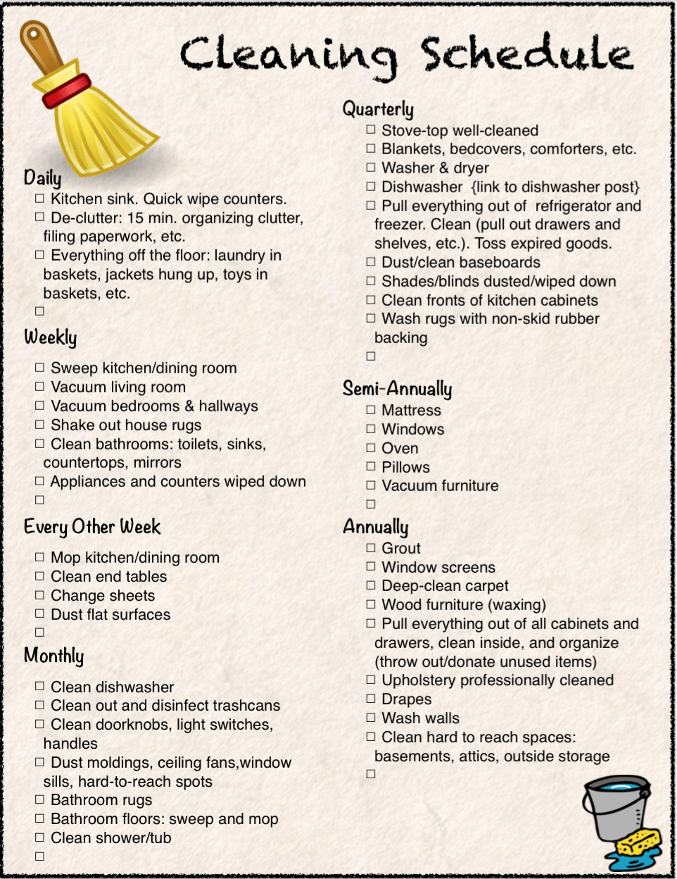 2 Free Printables: Cleaning Checklist and Schedule. Everything from weekly to annual tasks. Stay organized.