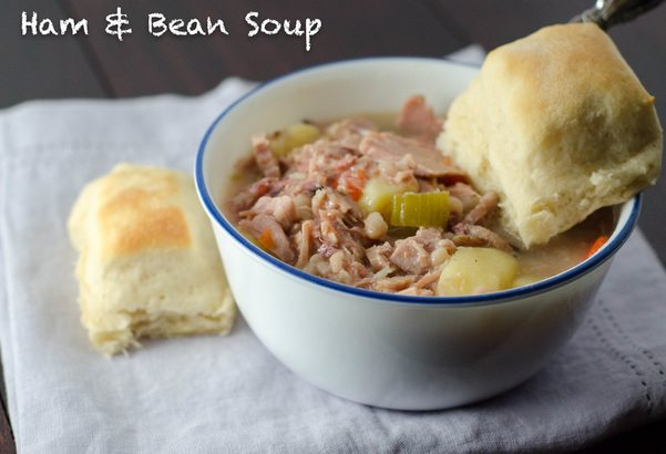 Classic, hearty, ham and bean soup. Homemade, but so easy to make!