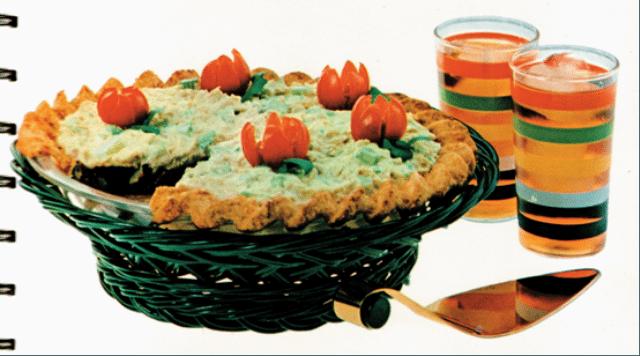 Insane Vintage Recipes: Summer Salad Pie (aka Tuna Jell-o Pie)