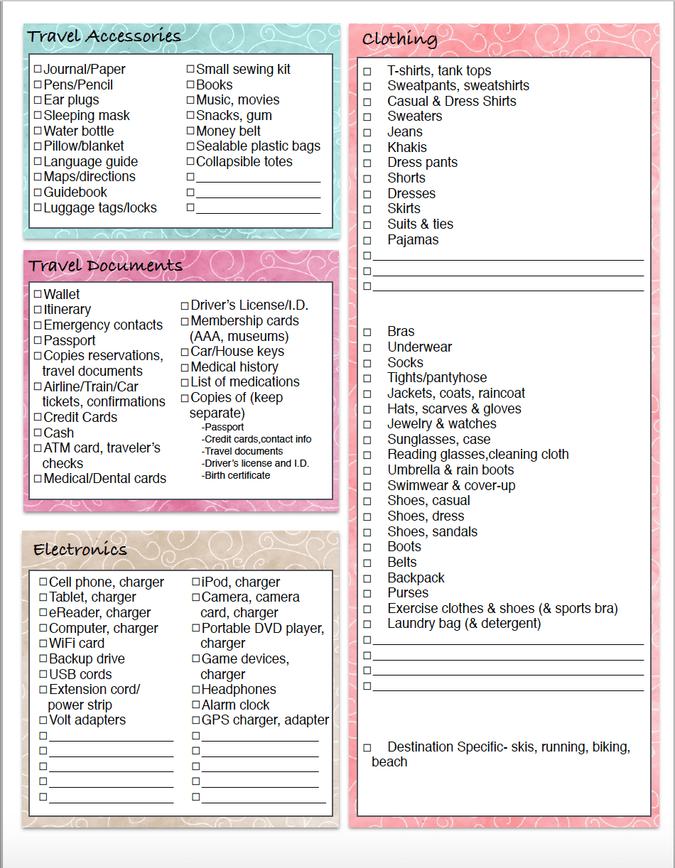 Free Printable Vacation Clothing Planner Day Night Travel Packing List