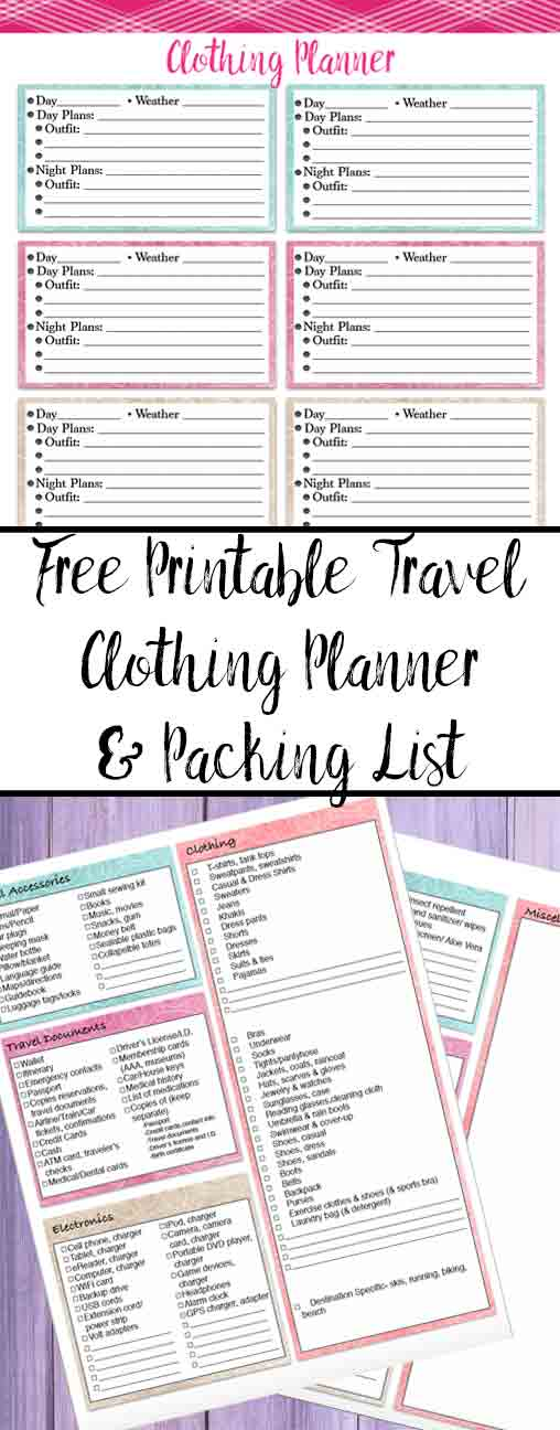 Free Printable Vacation Clothing Planner and Travel Packing List. Plan outfits for day & night. Exhaustive list with everything you could possibly need!