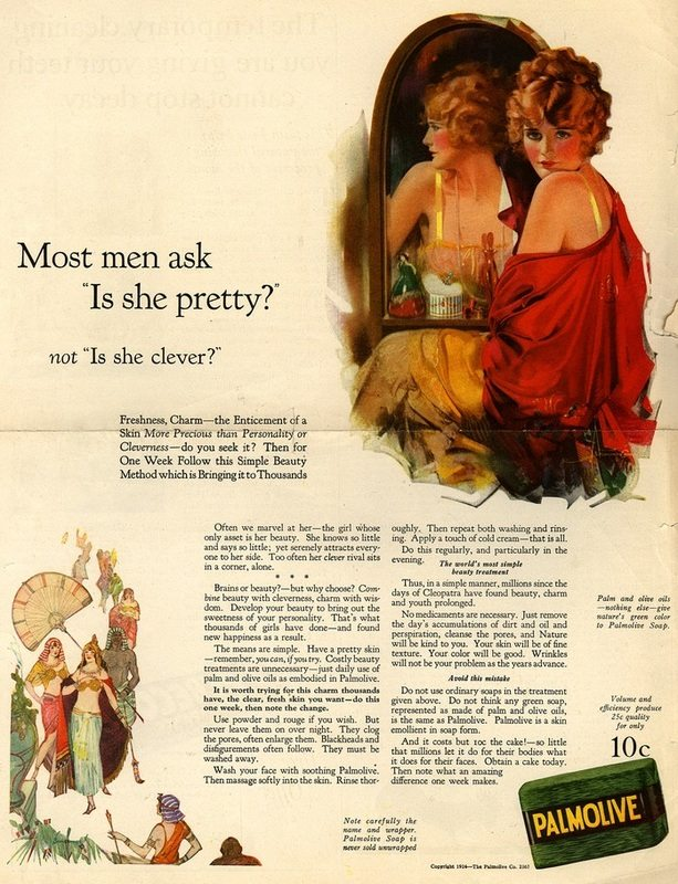 "Sexist Vintage Ad: Most men ask ""Is she pretty?"", not ""Is she clever?"""