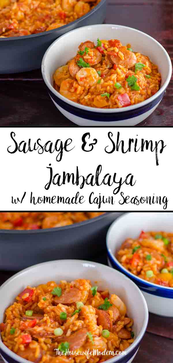 Smoked Sausage & Shrimp Jambalaya (with authentic homemade seasoning). Classic Creole, easy to make. #jambalaya #shrimp #sausage #smokedsausage