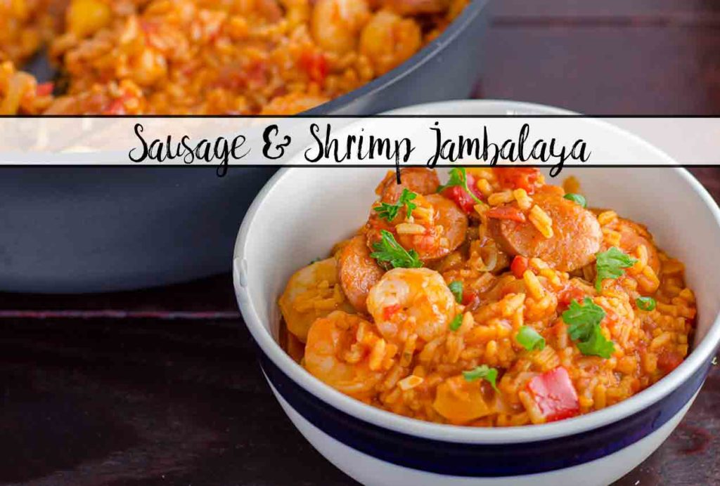 Smoked Sausage & Shrimp Jambalaya (with authentic homemade seasoning). Classic Creole, easy to make.