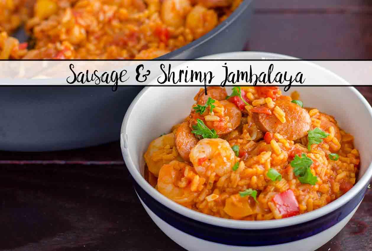 Smoked Sausage & Shrimp Jambalaya (with authentic homemade seasoning). Classic Creole, easy to make.