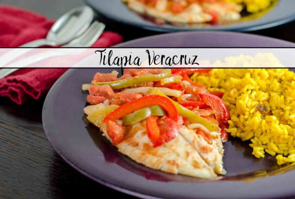 Tilapia Veracruz: Healthy, Easy, Delicious. Under 1,000 calories for the ENTIRE DISH. Mexican tilapia recipe: Pescado a la Veracruzana.