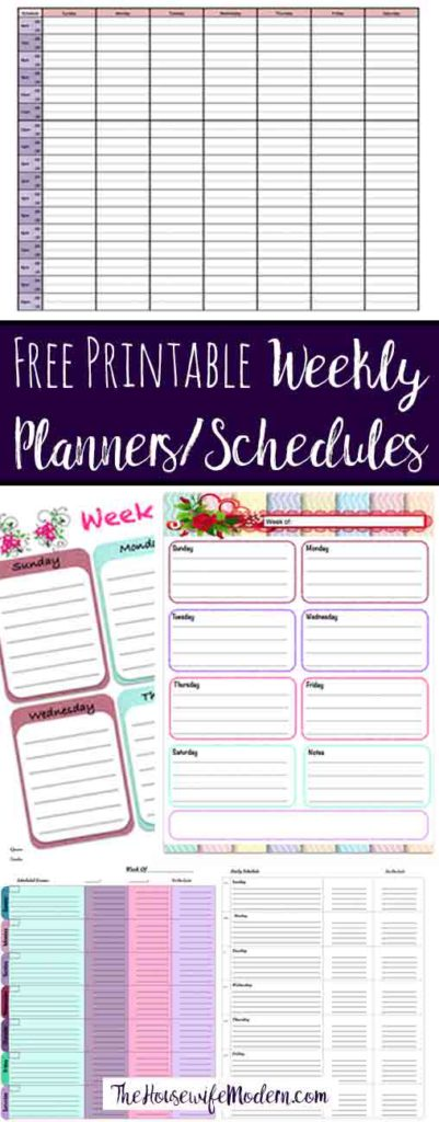 Pin image for free printable weekly planners. View of 5 planners with text overlay.