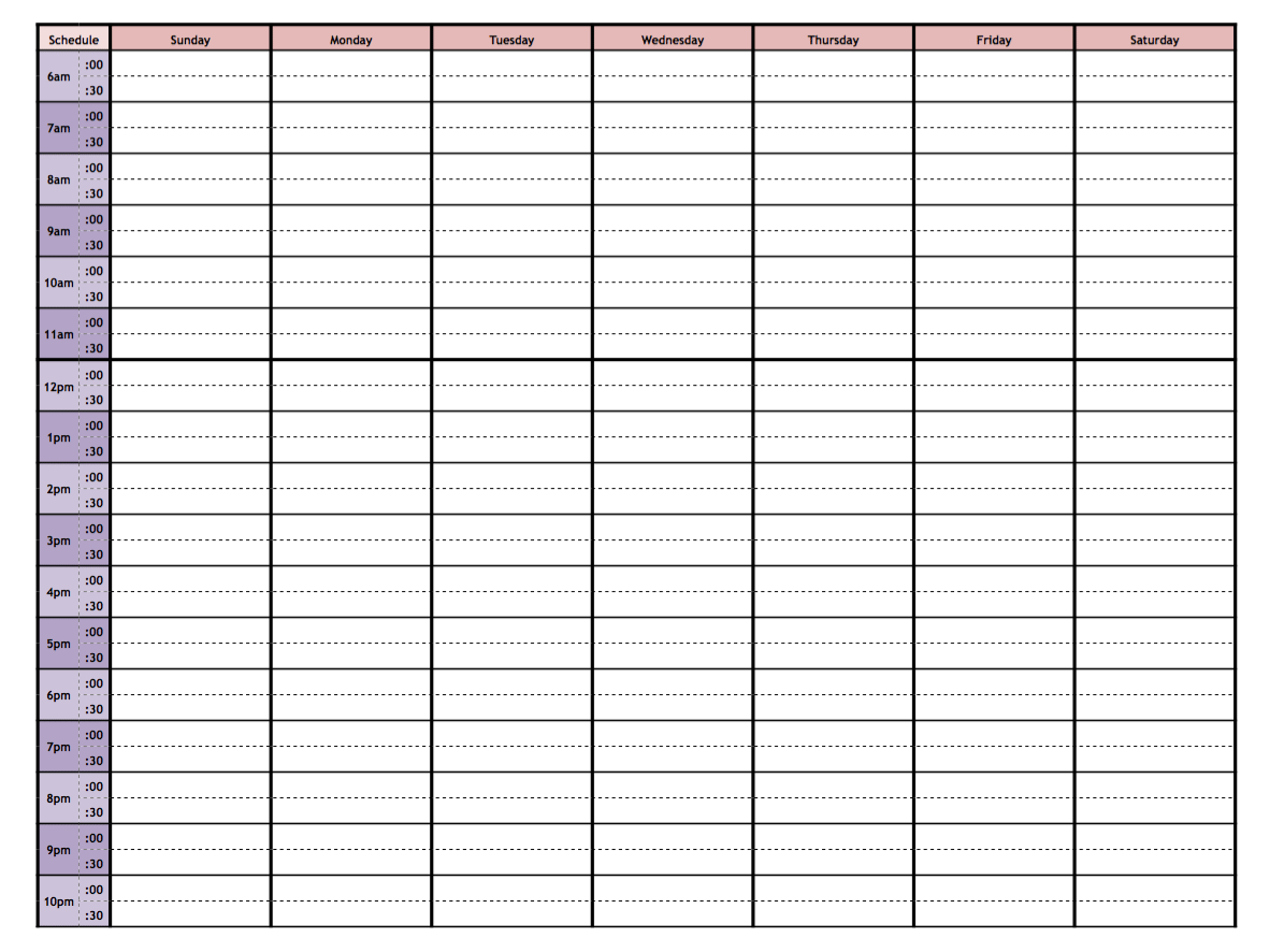 Free Printable Hourly Weekly Planner.