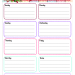 Free Printable Weekly Planner. Very colorful, open boxes for each day.