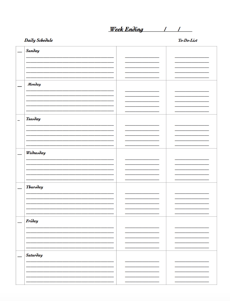 Free Printable Weekly Planner. Black and white.