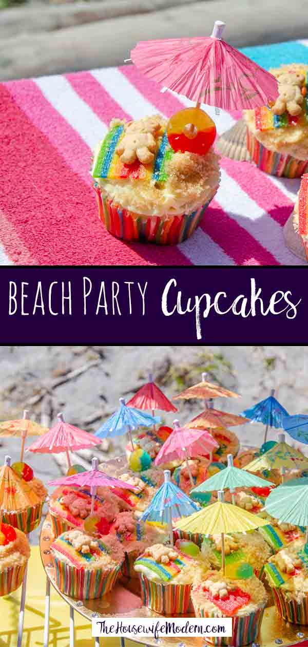 Beach Party Cupcakes: the cutest cupcakes you'll ever see at a party. Easy to make, tastes delicious, and look amazing!