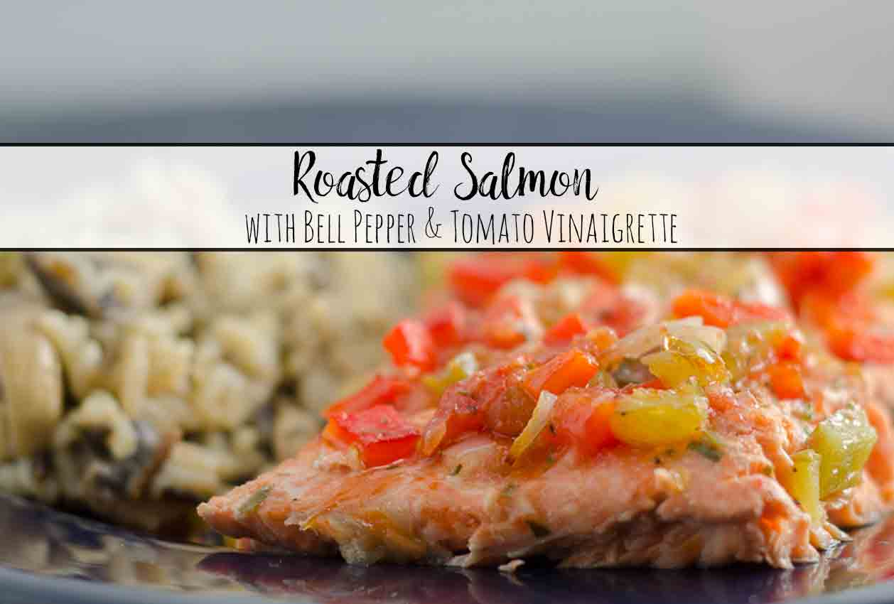 Roasted salmon dressed with a bell pepper and tomato vinaigrette. Elegant entree, delicious, but easy to make.