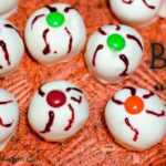 "Irresistible Halloween Buck""eyes""- classic buckeyes with white chocolate and decorated just for Halloween."
