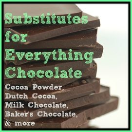 Substitutes for Everything Chocolate: Cocoa, Semi-Sweet Chocolate, Baker's Chocolate, & more