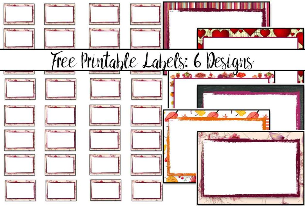 "Free Printable Labels: 6 different designs. Use for labeling spice jars, small containers, and more. 1.5"" by 1"" default design, but can adjust print size."