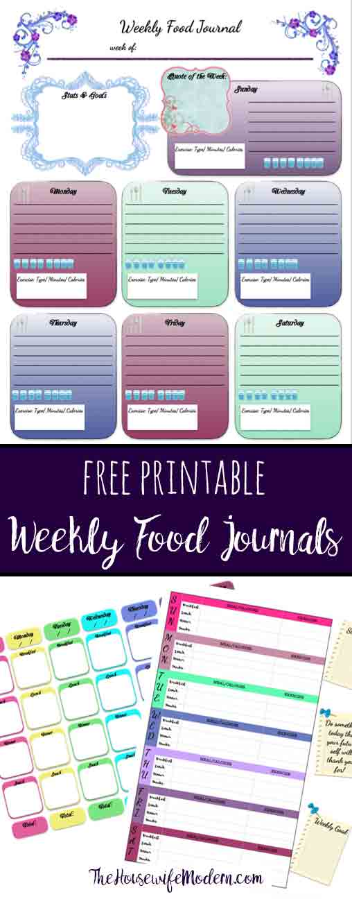 Free printable weekly food journals. 3 different designs available & links to more free printables.