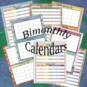 Bimonthly calendars for 2016, 2 designs. Links to more printables.