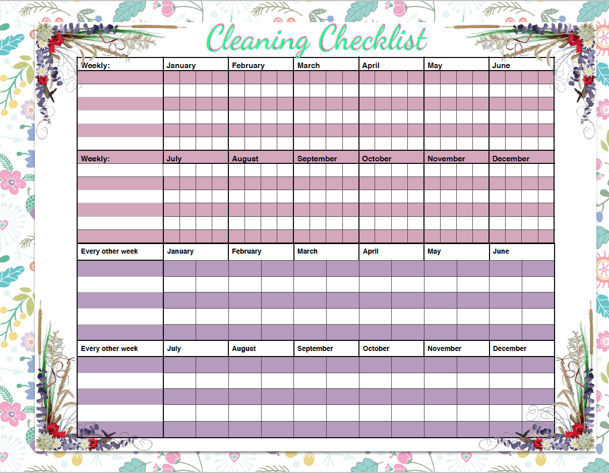 Free printable weekly cleaning & deep-cleaning checklists. Pre-filled out as well as blanks for you to customize. Great for kids' chores! #cleaning #printable #freeprintable #cleaningprintable
