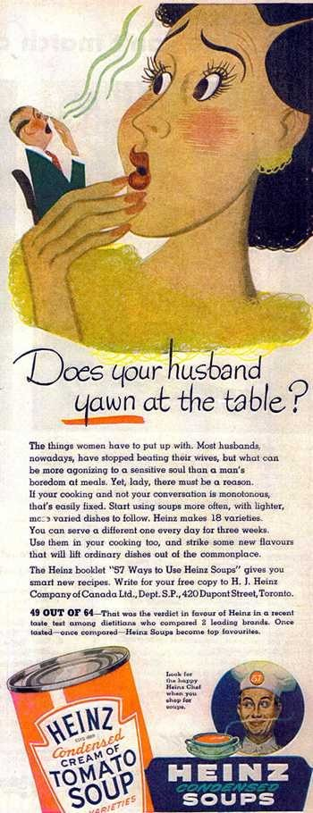 Sexist Vintage Ad: Most husbands have stopped beating their wives…