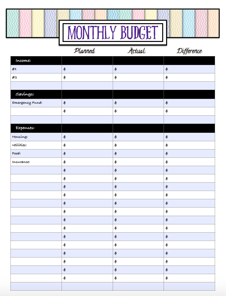 Single page free printable monthly budget sheet.