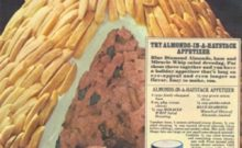 Insane vintage recipe: Almonds in a Haystack. Consists of minced ham, Miracle Whip, cream cheese, green onions, and relish.