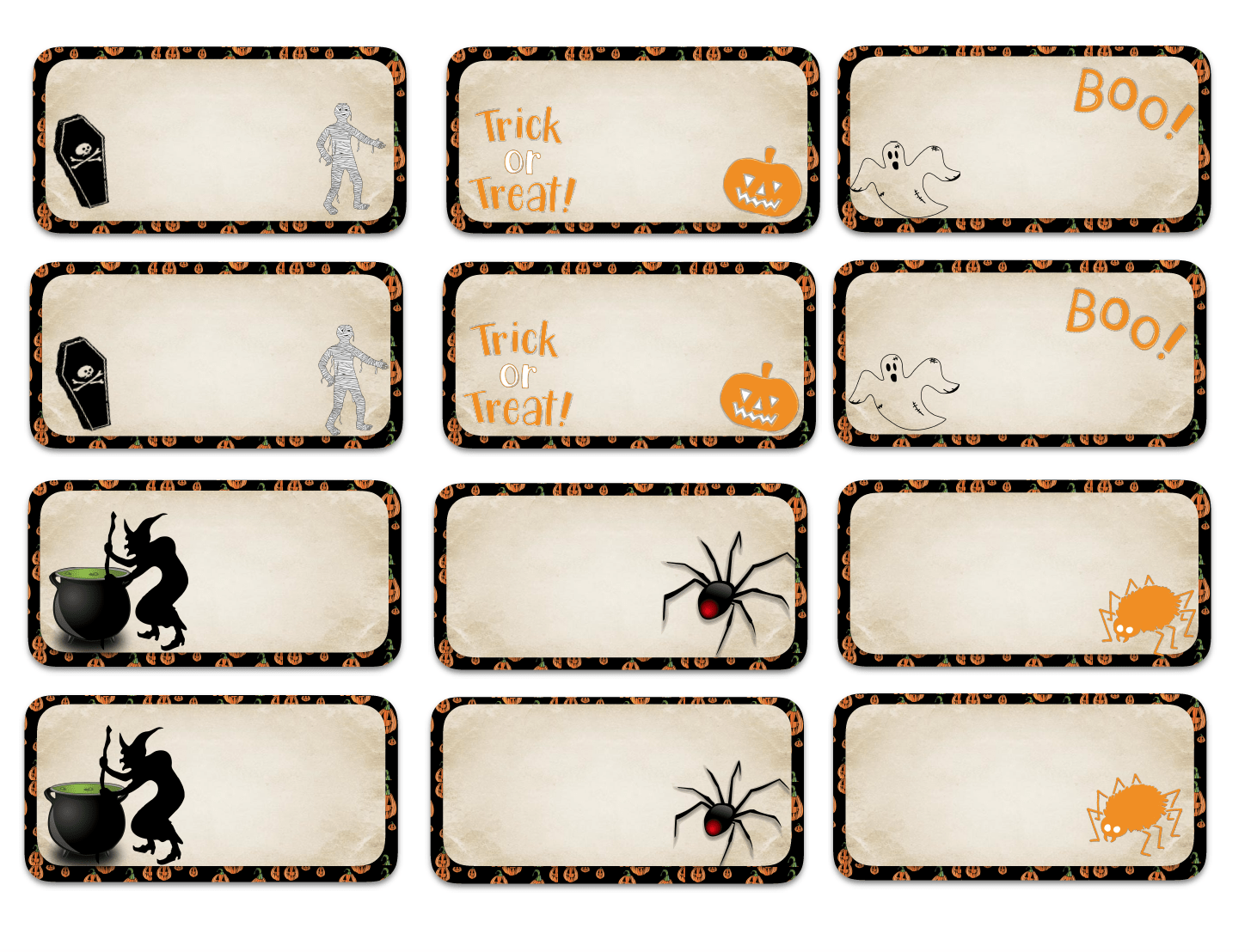 "Halloween designed labels. Multiple sizes (2"" x 1""; 3"" x 1 &1/2""; and 3"" x 2""), multiple designs. Great for labeling food, drinks, favors, etc."