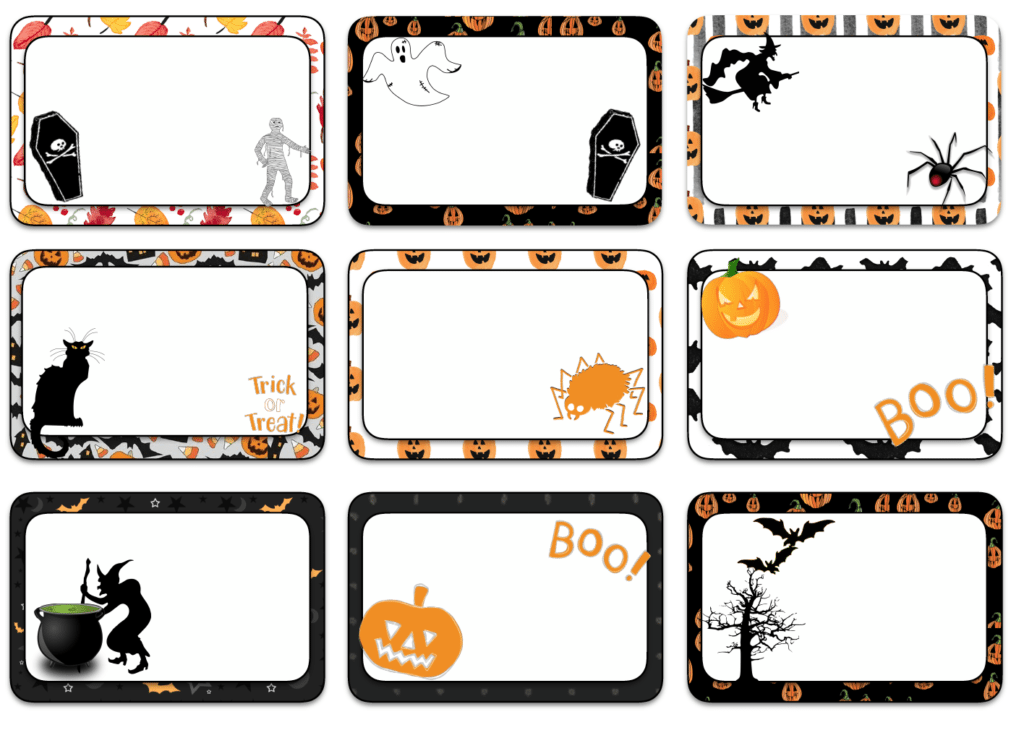 """Halloween designed labels. Multiple sizes (2"""" x 1""""; 3"""" x 1 &1/2""""; and 3"""" x 2""""), multiple designs. Great for labeling food, drinks, favors, etc."""