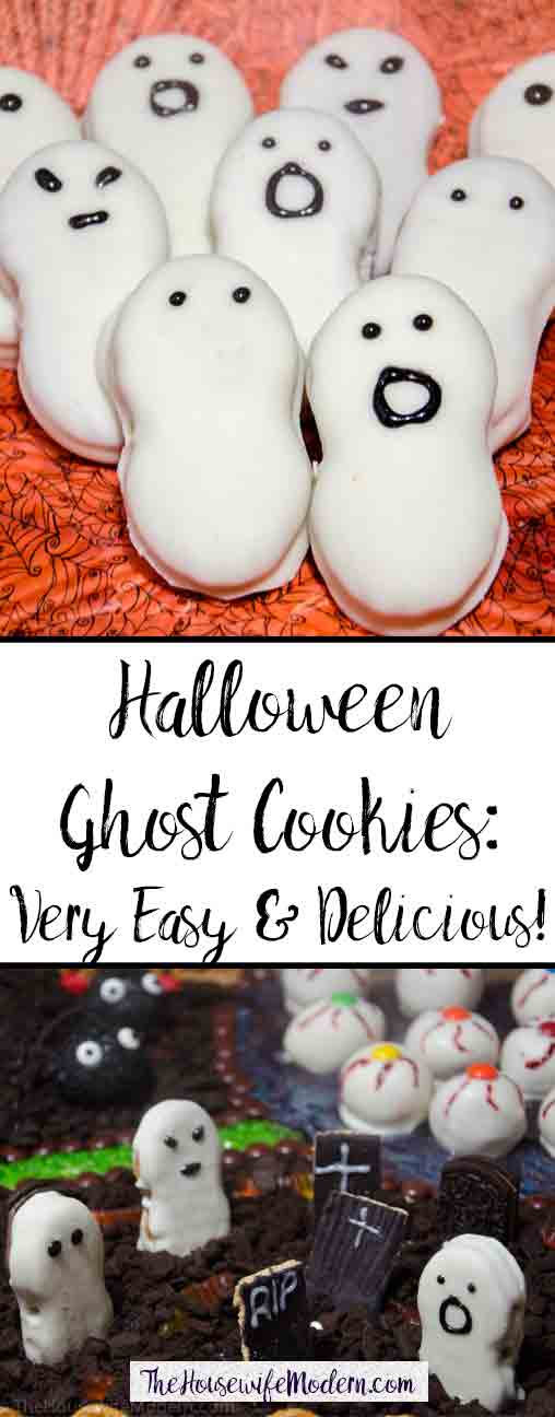 Halloween Ghost Cookies. Cute and very easy to make. Nutter Butters and white chocolate, 4 simple steps.