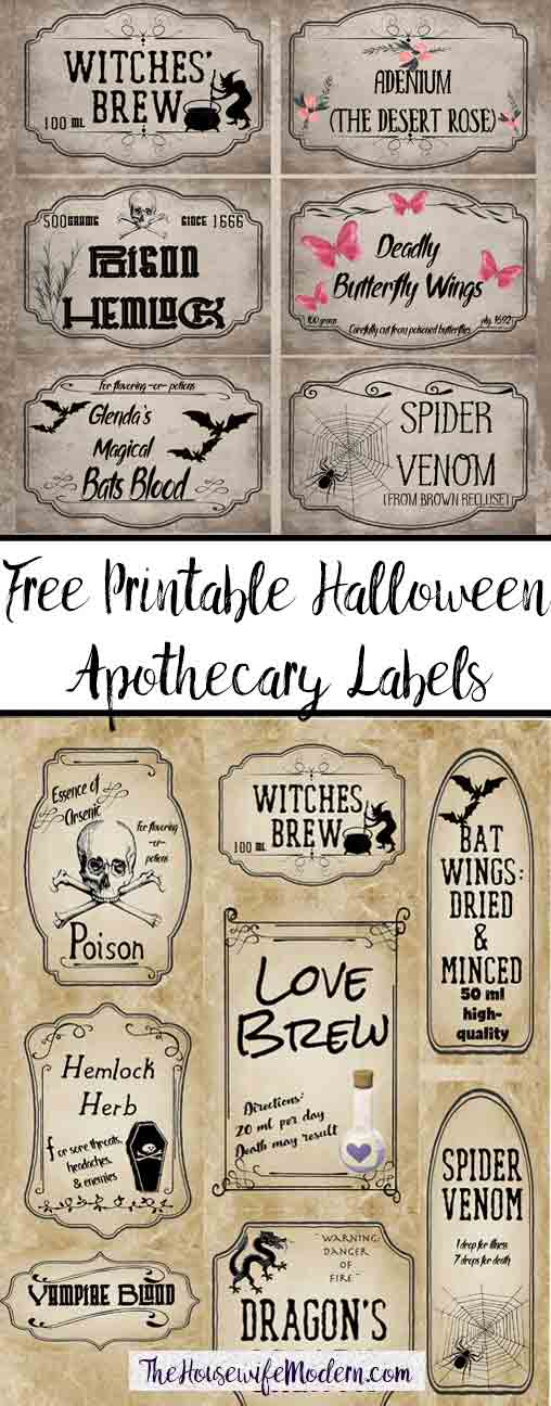 Free Printable Halloween Apothecary Labels: 16 designs! Plus designed blanks for any Halloween need. Includes links to more free Halloween printables. #halloween #free #printable #freeprintable #halloweenprintable