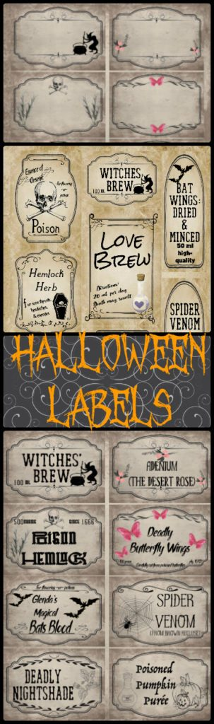 Free Printable Halloween Apothecary Labels: 16 different designs. Plus designed blanks: fill it in for exactly what you need!