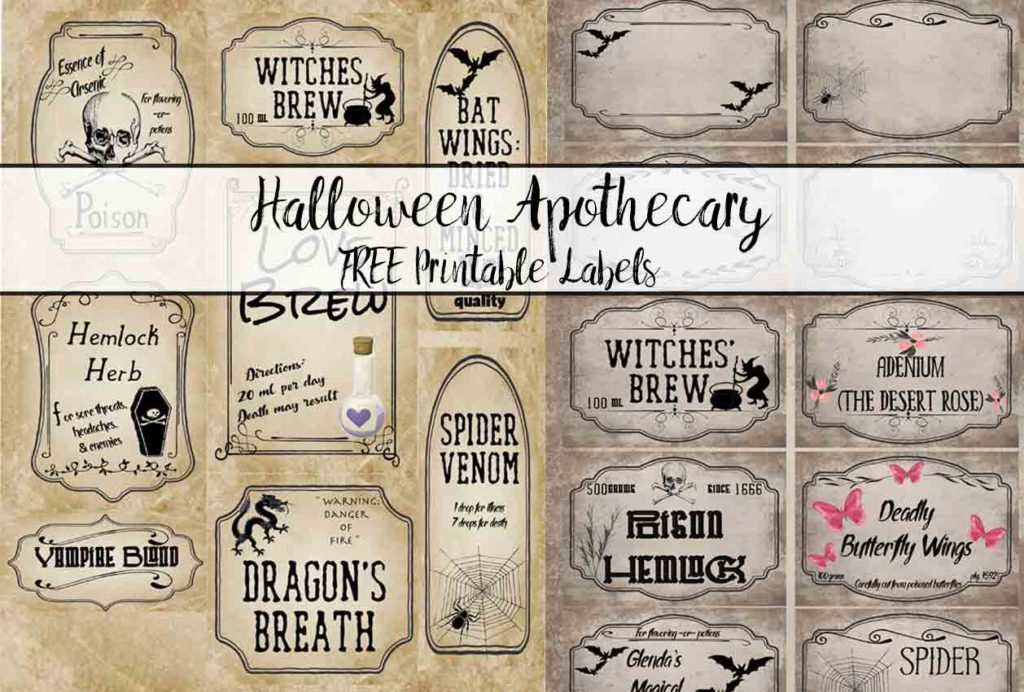 Free Printable Halloween Apothecary Labels: 16 designs! Plus designed blanks for any Halloween need. Includes links to more free Halloween printables.