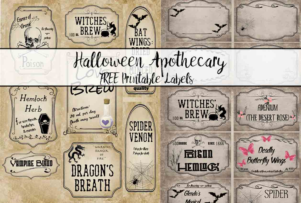 picture about Printable Halloween Labels named No cost Printable Halloween Apothecary Labels: 16 Plans in addition