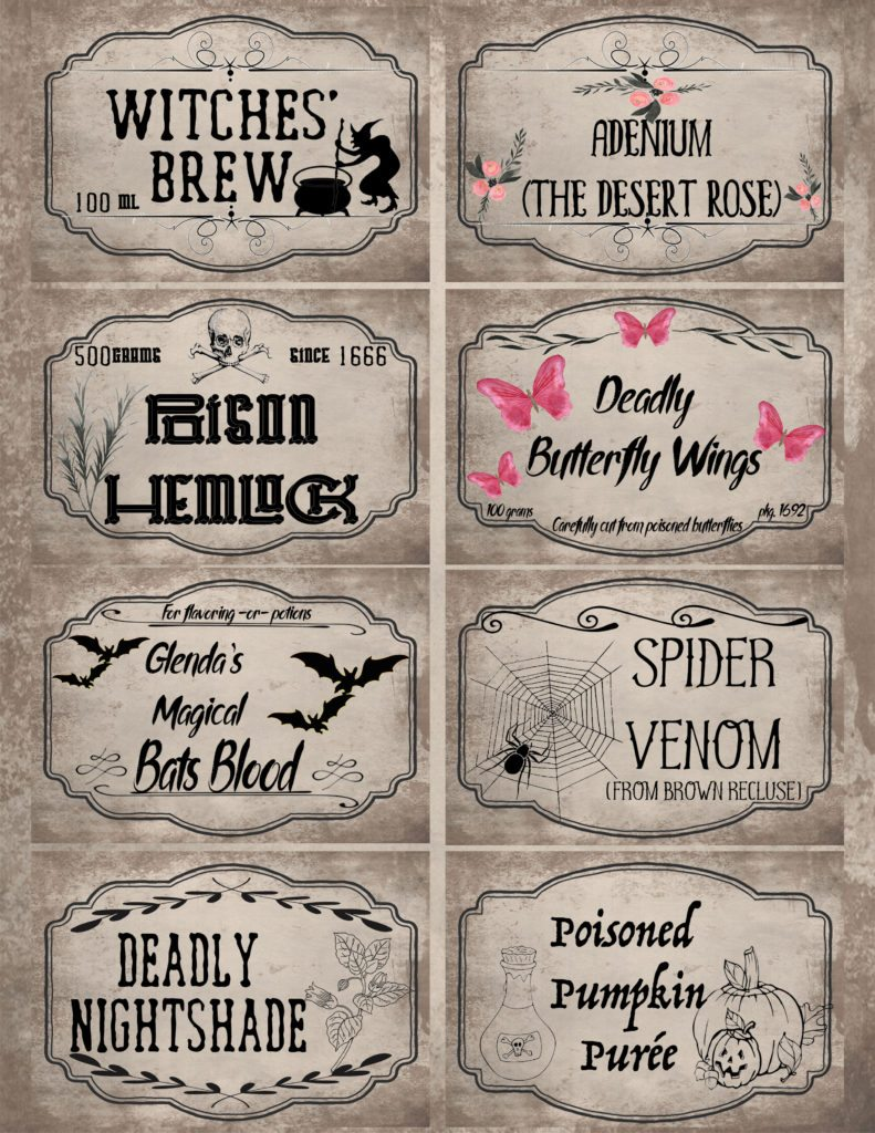 Gray/brown background, pre-filled out Halloween apothecary labels