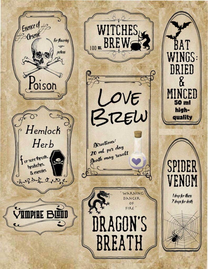 Slate, pre-filled halloween apothecary labels