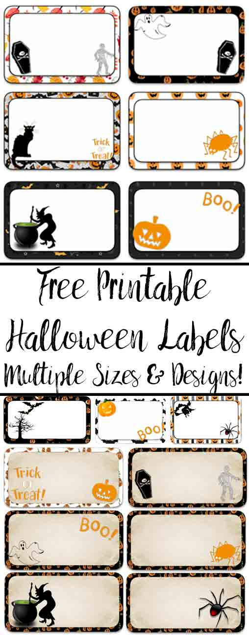 "Free Printable Halloween Labels. Multiple sizes (2"" x 1""; 3"" x 1 &1/2""; and 3"" x 2""), multiple designs. Great for labeling food, drinks, favors, etc."