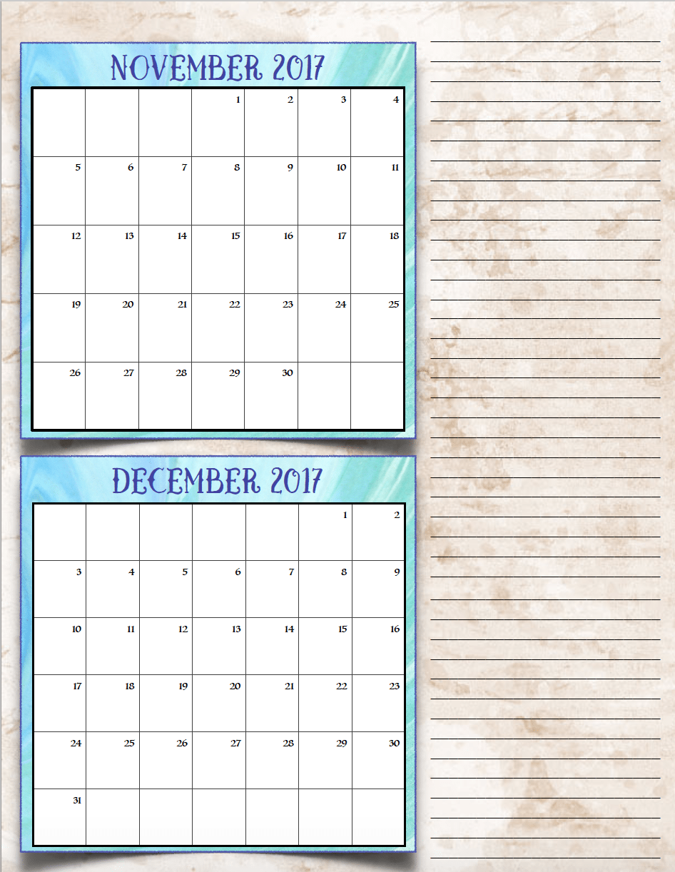 FREE Printable 2017 Bimonthly Calendars: 7 different designs; pick your favorite…plus links to more free printables.