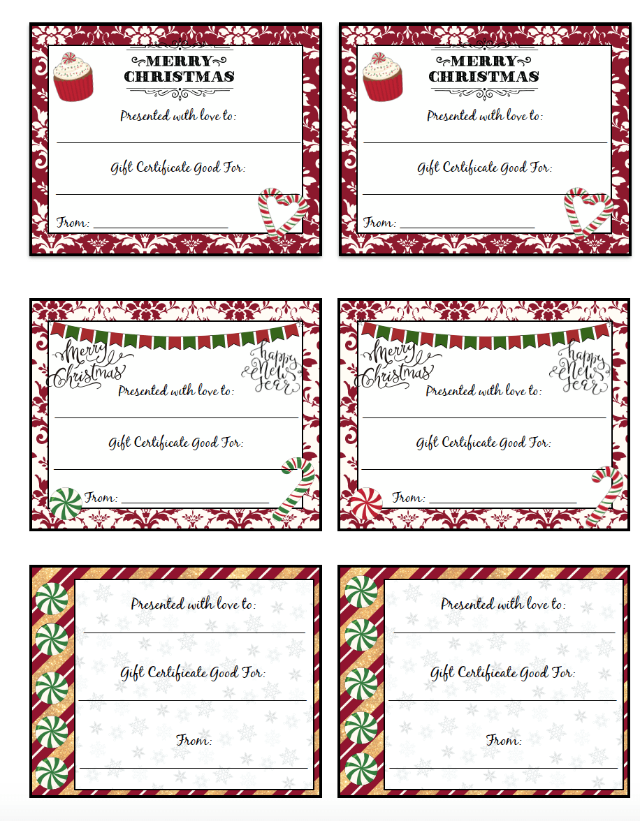 FREE Printable Christmas Gift Certificates: 7 different designs! Fill out the 'perfect gift' for anyone. Plus links to more free printables.
