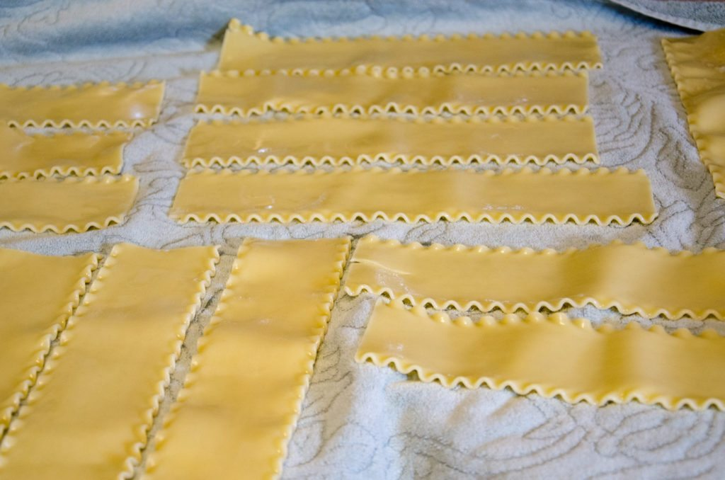 Cook lasagna noodles in water, dash salt, and bit of oil. Lay out on towels after done.