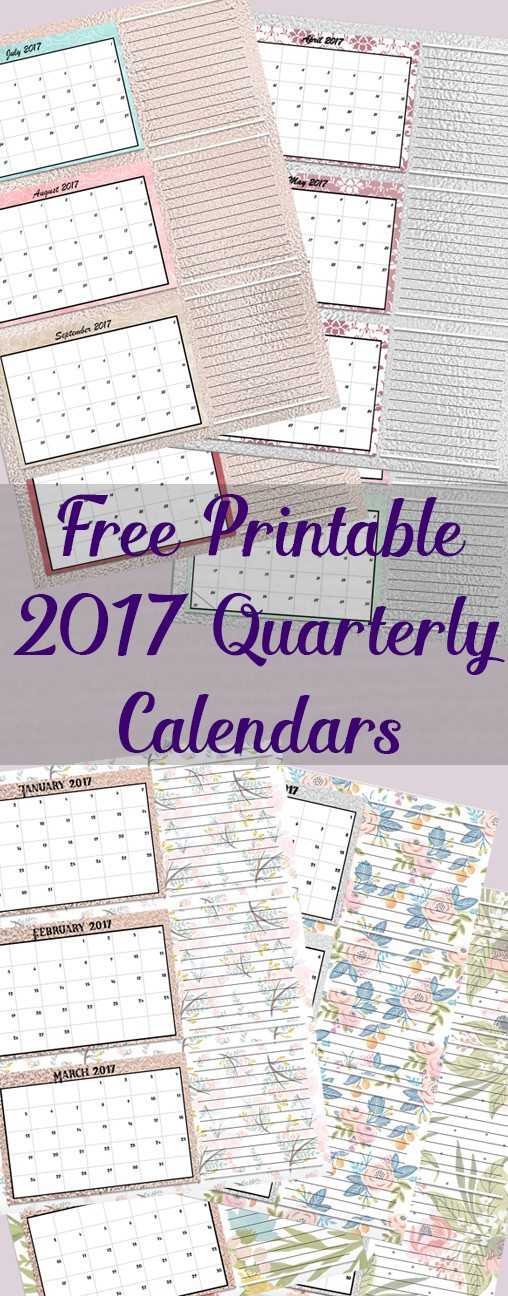 FREE Printable 2017 Quarterly Calendars: 2 different designs; pick your favorite…plus links to more free printables!