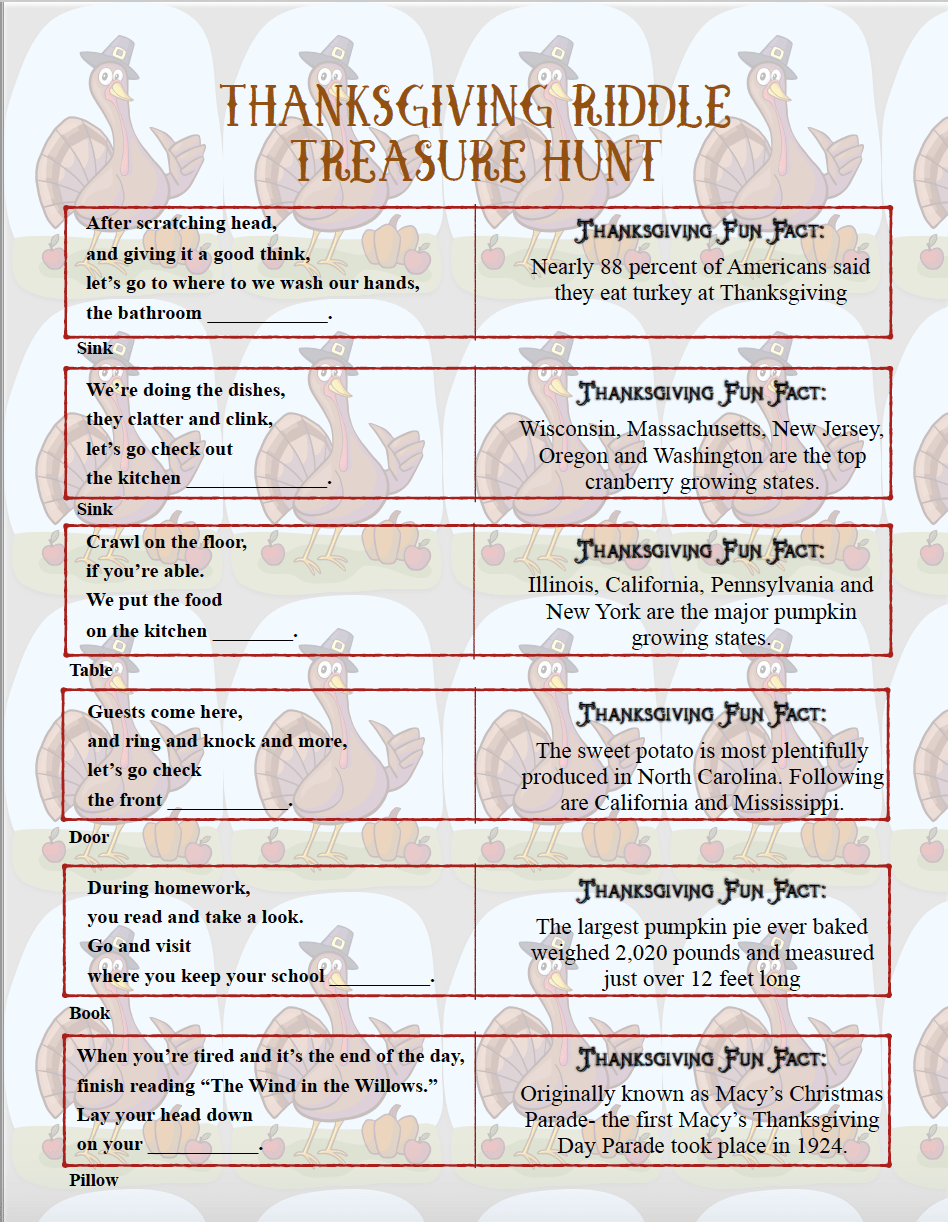 image relating to Riddles Printable named Absolutely free Printable Thanksgiving Riddle Treasure Hunt: 18 Mixture-and