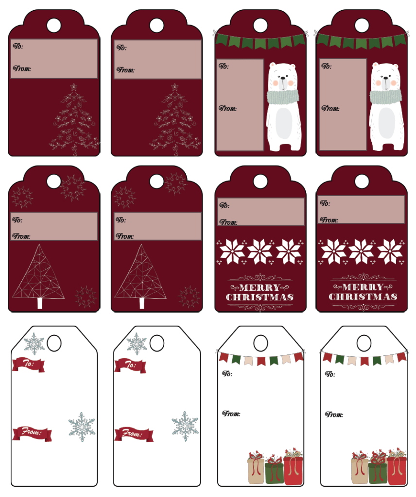 Free printable Christmas gift tags: 13 unique Christmas designs, various sizes. No more buying gift tags!