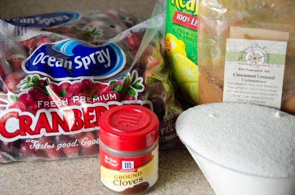 Ingredients: cranberries, sugar, water, powdered cloves, cinnamon, and lemon juice.