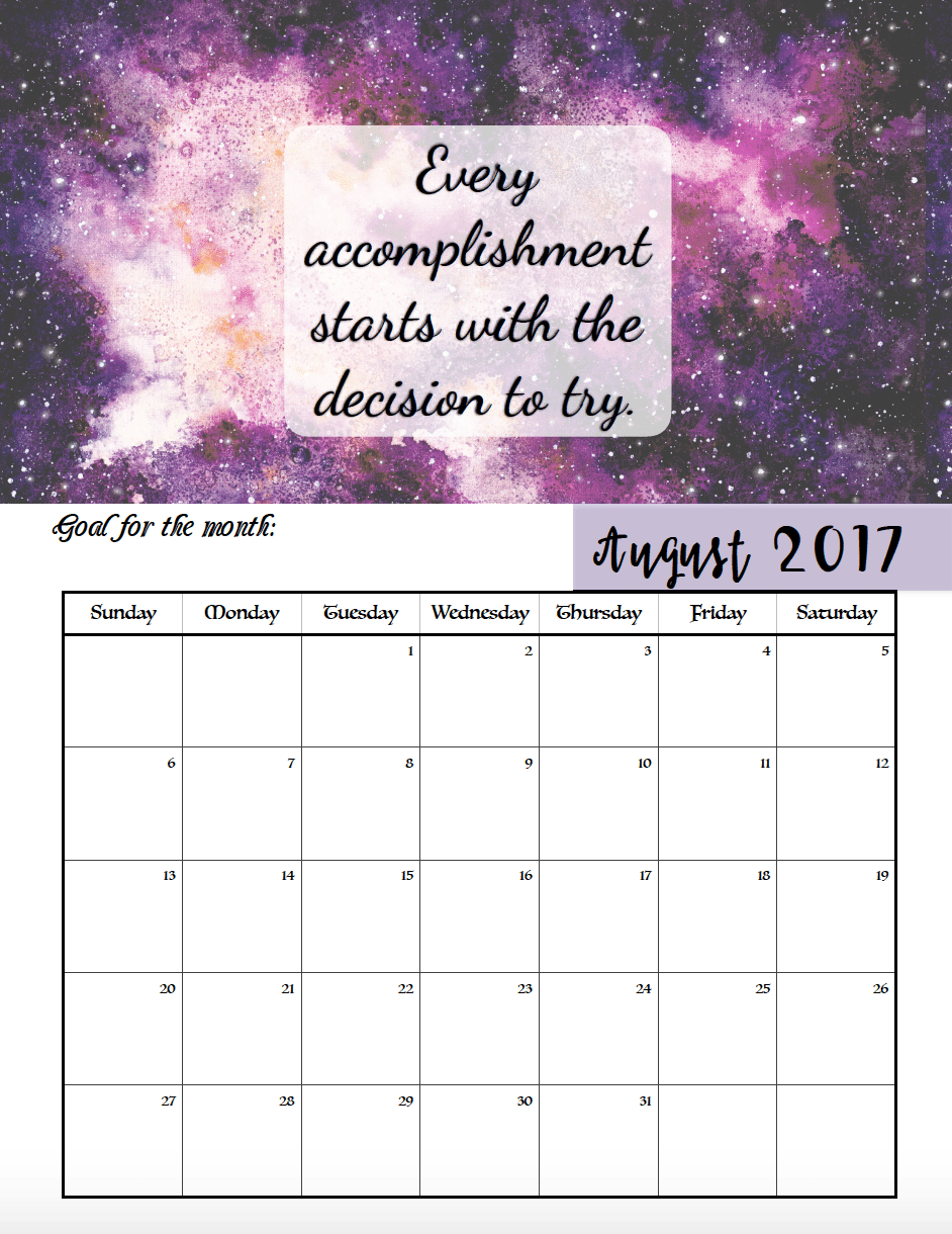 FREE Printable 2017 Motivational Monthly Calendar: Set a goal for each month, motivational quotes for every month! & links to more free printables.