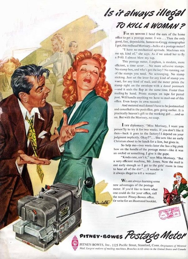 Sexist Vintage Ad: Pitney-Bowes 1947 Postage Meter- Is it always illegal to kill a woman?