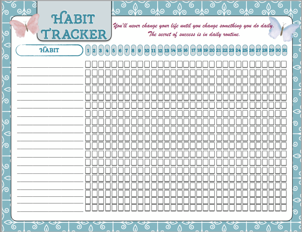 Free printable motivational posters, habit tracker, & resolution tracker. Motivate your life and reach your goals by tracking what you want to achieve.