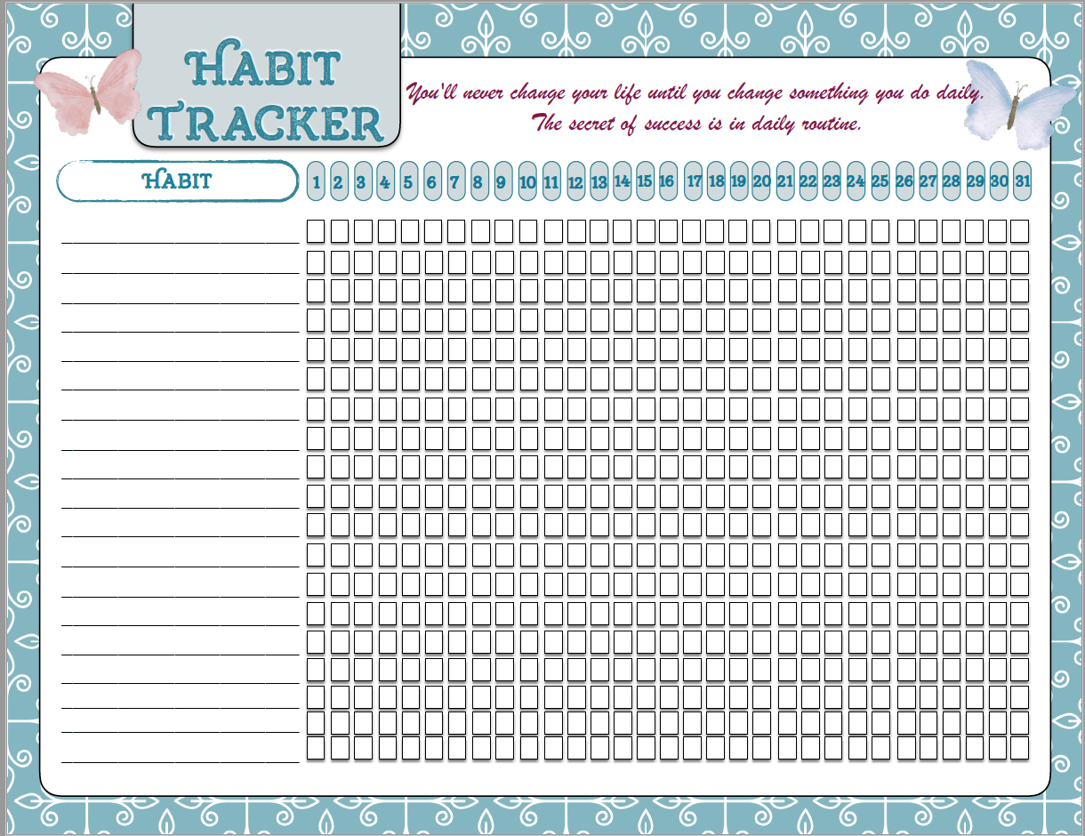 picture regarding Habit Tracker Free Printable titled Absolutely free Printable Motivational Posters, Pattern Tracker